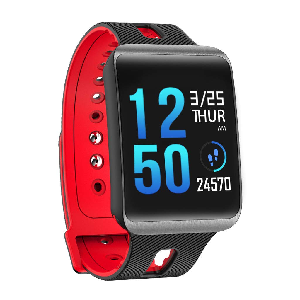 Letdown Smart Watch Sports Fitness Activity Heart Rate Tracker Blood Pressure Calories Lightweight Waterproof Multi-Functional Smart Wrist Watch (Red)