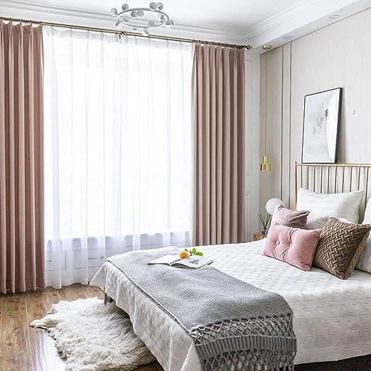 qidongyituo Cortinas Visillos para Dormitorio Polvo De Algodón Y Lino De Seda De Color Liso_H215 X W260Cm: Amazon.es: Hogar
