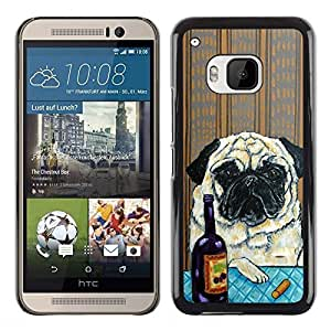 Be Good Phone Accessory // Dura Cáscara cubierta Protectora Caso Carcasa Funda de Protección para HTC One M9 // Pug Art Wrinkles Painting Wine Dog