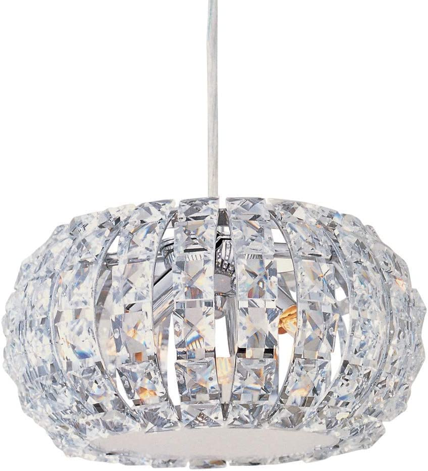 ET2 E21800-20PC Bijou 4-Light Flush Mount, Polished Chrome Finish, Crystal Glass, G9 Xenon Bulb, 116W Max., Dry Safety Rated, 2900K Color Temp., Standard Dimmable, Glass Shade Material, 4500 Rated Lumens
