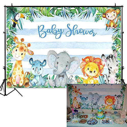 Jungle Safari Shower - Mocsicka Safari Animals Baby Shower Backdrop Jungle Safari Photography Background 7x5ft Vinyl Safari Baby Shower Party Backdrops