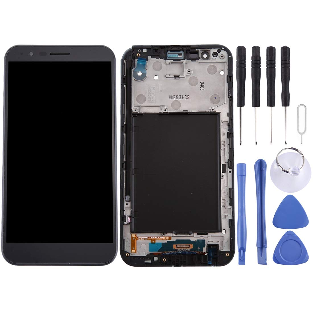 Goodao Complete kit Replace LCD Screen and Digitizer Full Assembly with Frame for LG Stylo 3 Plus / TP450 / MP450 (Black) (Color : Black)