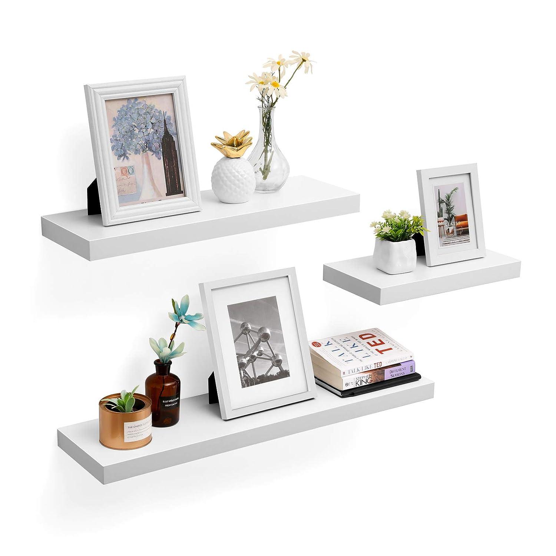 VASAGLE /Étag/ère Murale Tablette Murale /Étag/ère Flottante /Étag/ère de Rangement MDF Blanc LWS28WT 80 x 20 x 3,8 cm