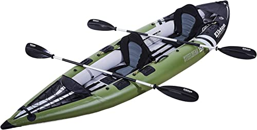Elkton Outdoors Steelhead Fishing Kayak, Inflatable Touring, Angler, Includes Paddle, Hard Mounting Points, Bungee Storage
