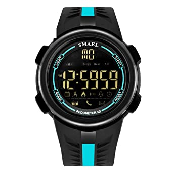 Men Youth Bluetooth Pedometer Smart Watch for Android Phones Waterproof Silicone Wristband