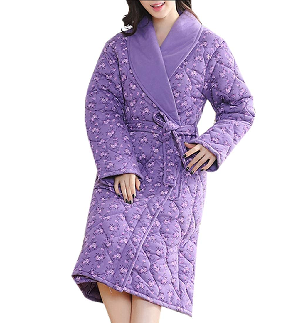 9 Keaac Women Cute Cotton Flannel Fleece Long Sleeve Cozy Bath Robe Sleepwear