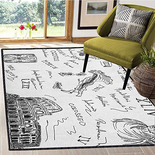 Caesar Bathroom Vanity - Toga Party Contemporary Indoor Area Rugs,Ancient Roman Period Icons Caesar Colosseum Gladiator and Map Sketch Art for Children Play Dormitory Black and White 67