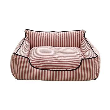 ZHWEI - Sofá Cama para Mascotas (se Puede Lavar a máquina, para 4 Estaciones, Universal, para Perros pequeños y medianos), Striped Red, Large: Amazon.es: ...
