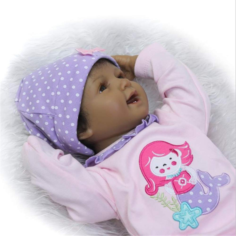 Kids Beach Toys Cute Black Baby Doll Rewborn Nursery Alive Doll Realistic Pretend Role Play Kids Toys Cute Newborn Baby Girl Doll Lifelike With Clothes Hat Feeding Toys Milk Bottle Baby Toddlers Infan by Zhao Xiemao (Image #5)