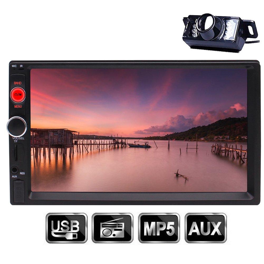 リアカメラ付きEinCar BluetoothカーステレオUSB 7インチユニバーサル2ディンHD MP5プレーヤーマルチメディアラジオエンターテイメント/ TF FM AUX入力のデジタルタッチスクリーンマルチメディアビデオ B0787TCH8G