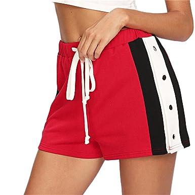 Short rayé Rayures sur Les côtés Short Rouge Rayures Sport d été pour Femmes  Red e9d0465a9cf