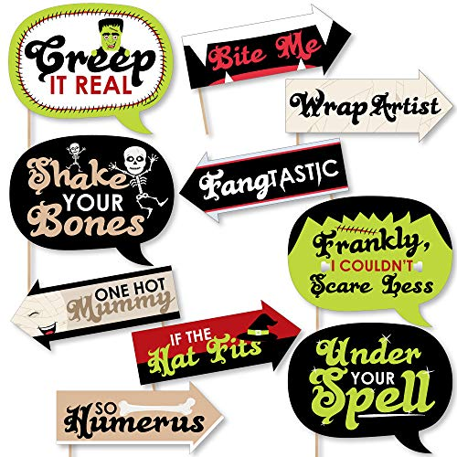Funny Halloween Monsters - Halloween Party Photo Booth Props Kit - 10 Piece]()