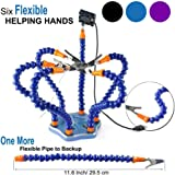 Flexible Helping Hands Soldering , Third Hand , Soldering Station Tool ( Flexible 7 Arms Helping Hands , Non-slip Aluminum Base , Built in Trays , Heat Resistant covers , 360 Degree Swiveling Clips , Brushless DC Fan ) by LITEBEE (Blue)