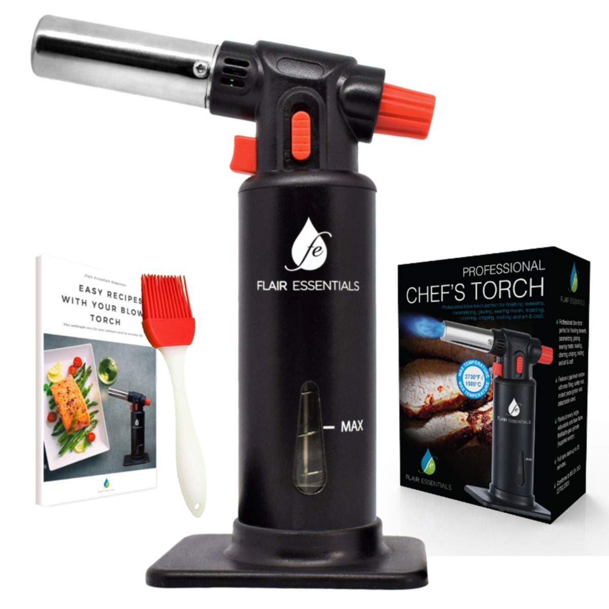 Cooking Torch Lighter. Culinary Torch, Creme Brulee Chef Torch Gourmet, Butane Kitchen Blow Torch. Adjustable Flame Safety Lock, Gas Window Gauge with Basting Brush, 23 Recipe eBook