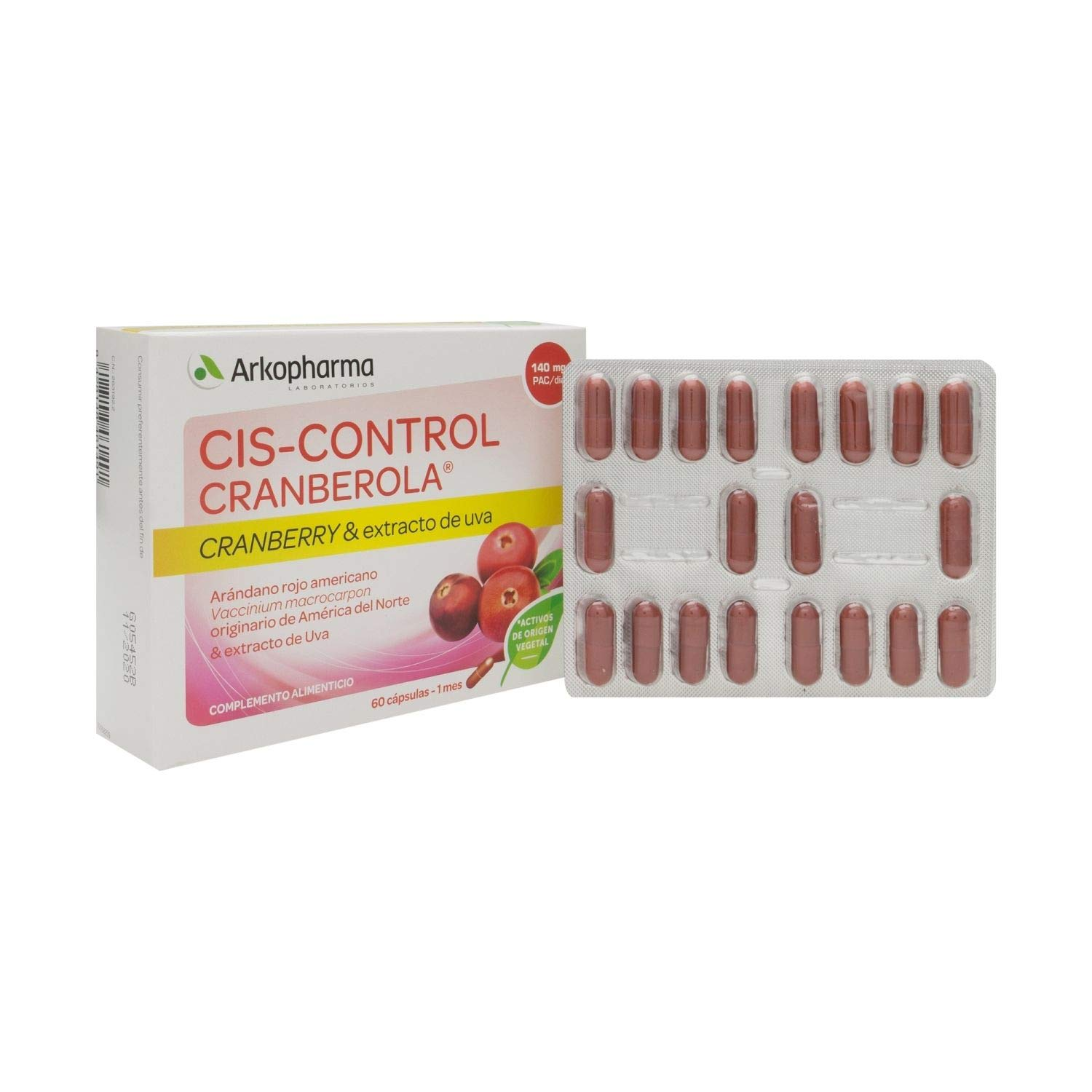 Arkopharma Cranberola Cis-Control 60 Capsules - Medicinal Plants - Promote Kidney Function and Contribute to Urinary Well-Being - Spain