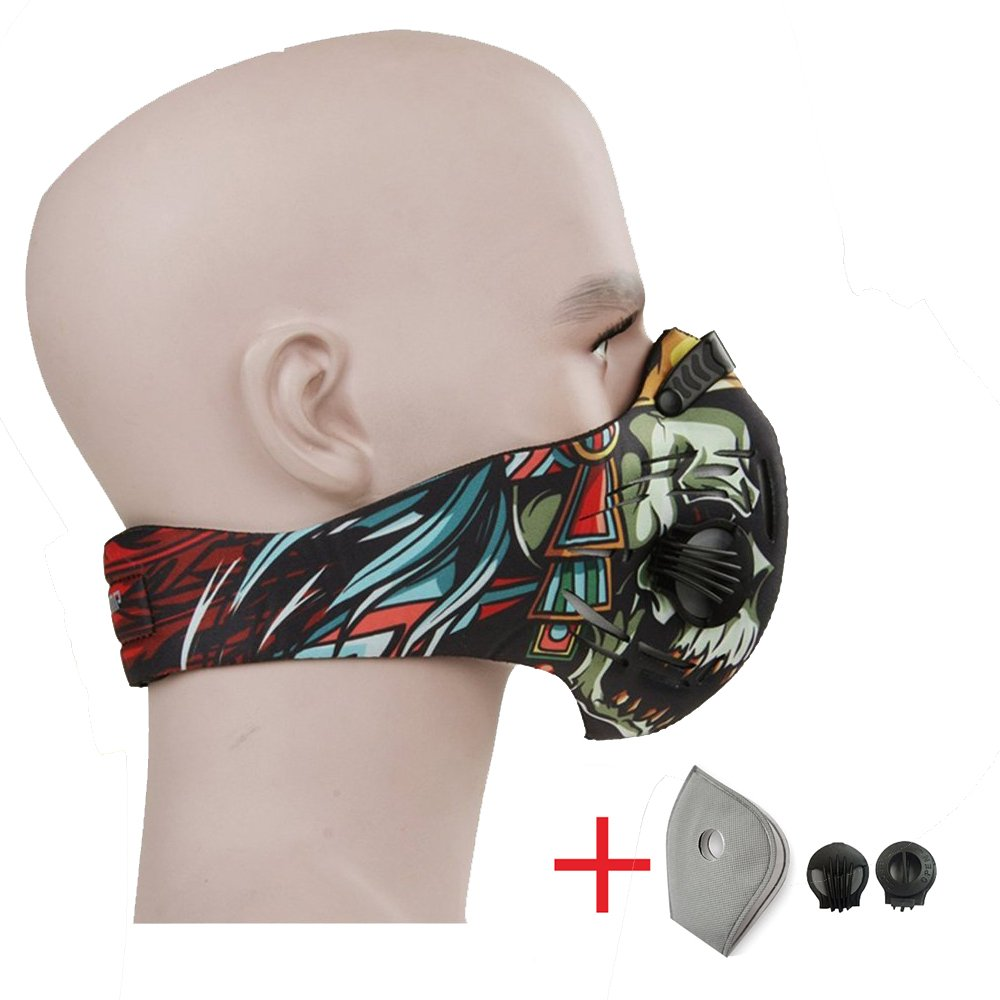 CFORWARD Dustproof Mask Activated Carbon Filtration Exhaust Gas Anti Pollen Allergy PM2.12 Face Mask for Running Cycling and Other Outdoor Activities(591TY)