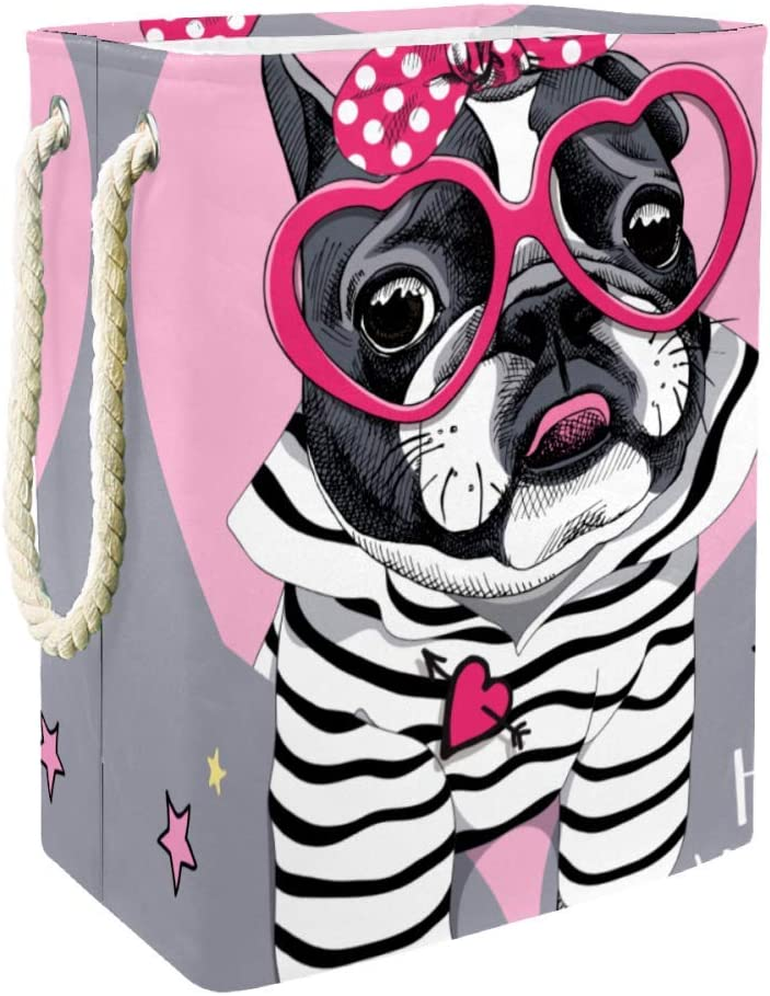 Laundry Basket French Bulldog In A Striped Cardigan Foldable Laundry Hamper with Handles Detachable Brackets Well-Holding Waterproof for Clothes Toys Organization in Laundry Room Bedroom Bathroom