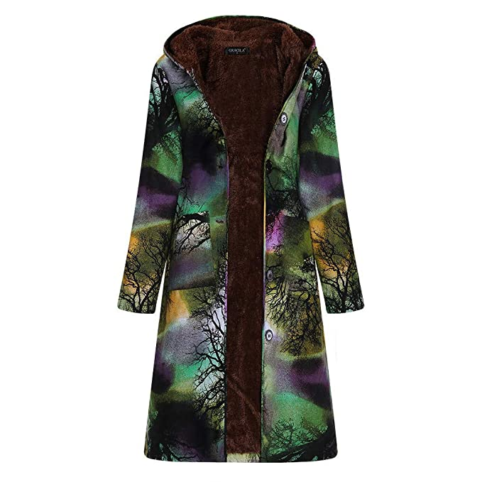Damen Mode Retro Warm Lässige Bedruckte Kapuze Jacke Coat Outwear  Wintermantel