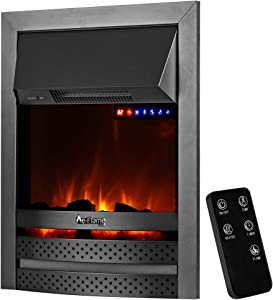 "e-Flame USA Abbotsford 23""x19"" LED Electric Fireplace Stove Insert with Remote - 3D Logs and Fire (Black)"