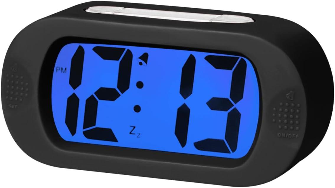 EASEHOME Reloj Despertador Digital de Silicona, Relojes Despertadores Digitales con Función Snooze y Luz Nocturna para Niños Adultos Despertador Silencioso para Mesita Mesa Oficina Hogar, Negro