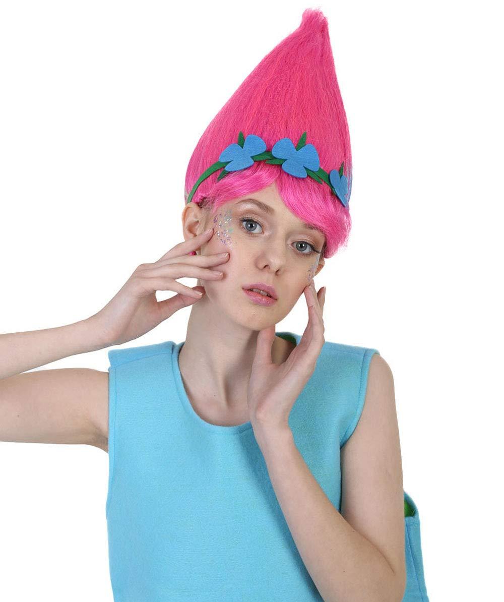 Adult Trolls Poppy Elf//Pixie Wigs Halloween Fancy Dress Cosplay Anime Hair Wig