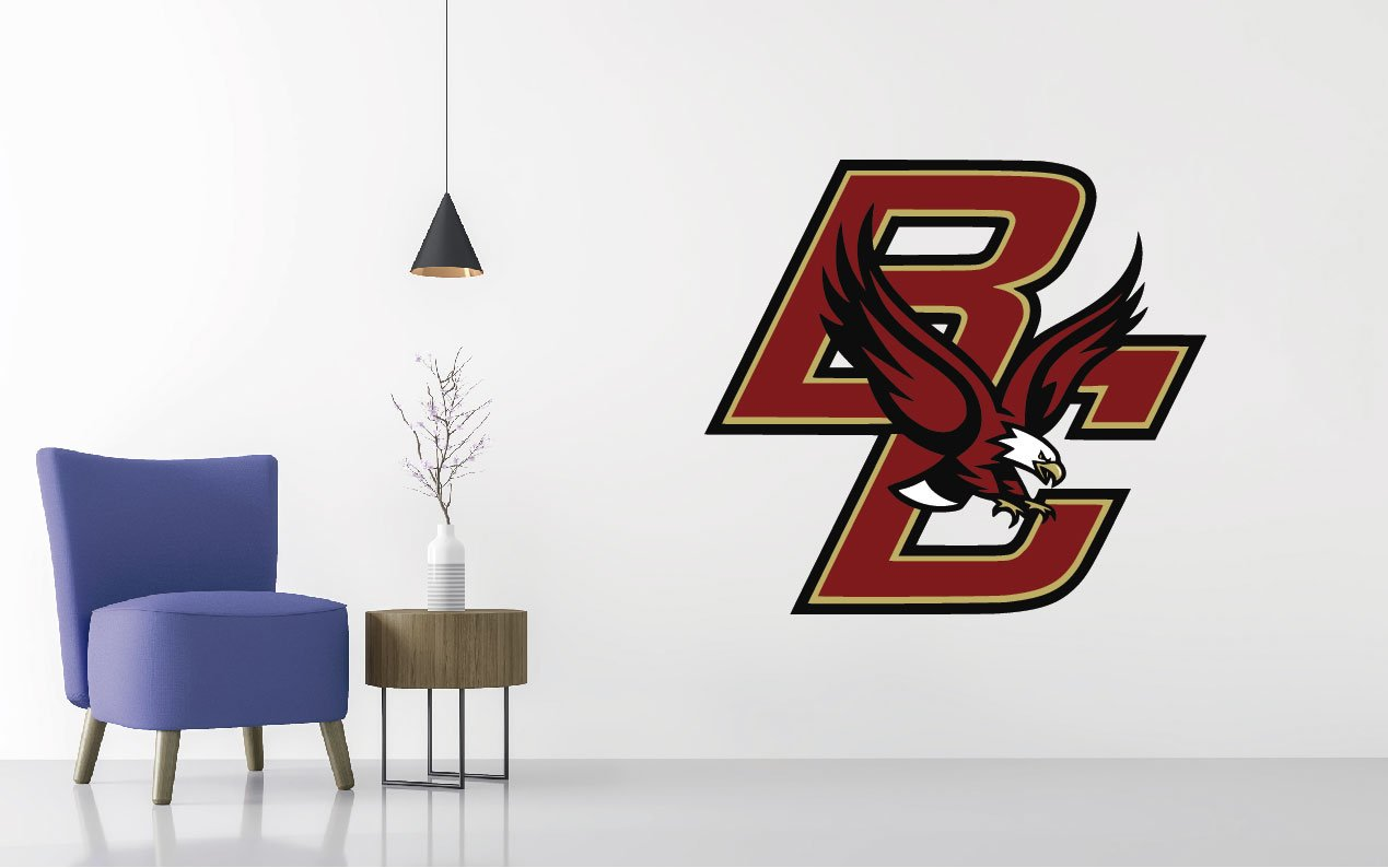 Boston College - Football Team Logo - Wall Decal Removable & Reusable For Home Bedroom (Wide 30''x27'' Height)