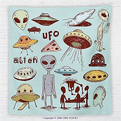 59 x 59 Inches Outer Space Decor Fleece Throw Blanket Old Pop Art Inspired Set of Round Ufo Icons Cosmic Discovery Dark Graphic Blanket Multi