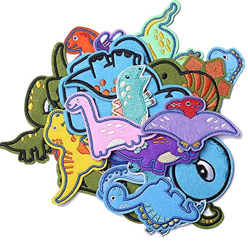 Harsgs Embroidered Dinosaur Patches, Cute Dinosaur Iron on/Sew on Patches Applique for Clothes, Dress, Hat, Jeans, Backpacks, DIY Accessories (Pack of 26)