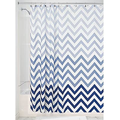 "InterDesign 52020 Ombre Chevron Fabric Shower Curtain - Standard, 72"" x 72"", Blue Multi - QUICK-DRY, MOLD/MILDEW RESISTANT shower curtain features a trendy geometric print with an ombred color effect 12 REINFORCED button holes for easy hanging MACHINE WASHABLE, tumble dry low - shower-curtains, bathroom-linens, bathroom - 61 9AOaObEL. SS400  -"