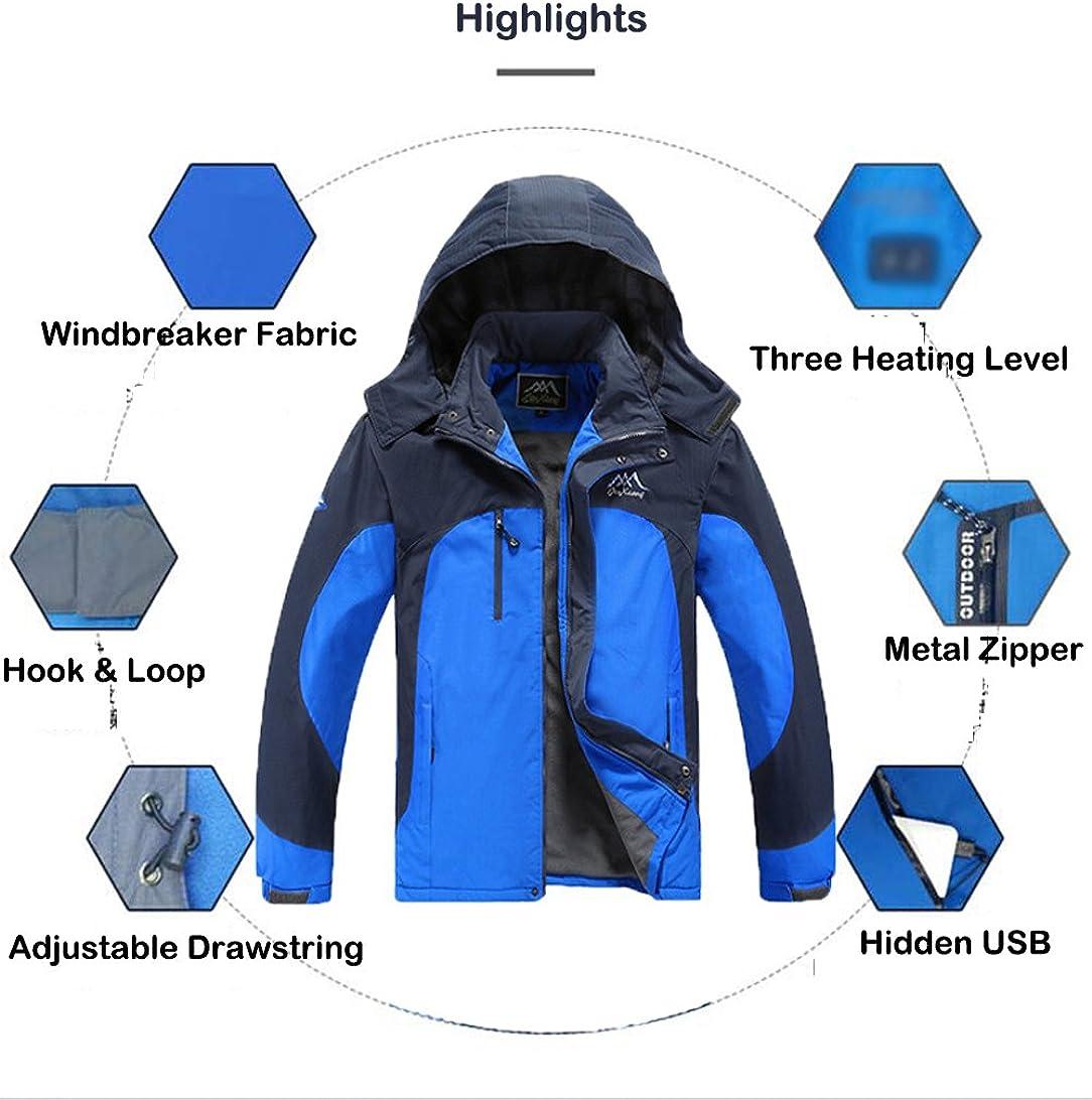 Evere Men Heated Jacket Outdoor Heating Windbreaker Windproof Zipper Sportswear Coat for Skiing Camping Hiking Climbing Battery Not Included L
