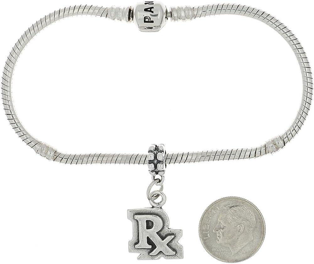Lgu Sterling Silver Oxidized Pharmacist Rx Symbol Dangle Bead Charm