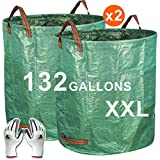 Gardzen 2-Pack 132 Gallons Gardening Bag with Gloves - Extra Large Reuseable Heavy Duty Gardening Bags, Lawn Pool Garden Leaf Waste Bag