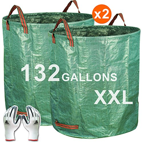 Gardzen 2-Pack 132 Gallons Gardening Bag with Gloves - Extra Large Reuseable Heavy Duty Gardening Bags, Lawn Pool Garden Leaf Waste Bag by Gardzen