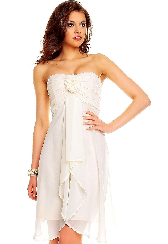 Chiffon Kleid mit aufgesetzter Rose - knielang in eng anliegender ...
