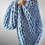 Chunky Blanket Wool Blanket Chunky Knit Blanket Giant Throw Arm Knitting Blankets Bulky Bedspread Knit Blanket for Bed/Sofa/Couch Home Decor Christmas Gift