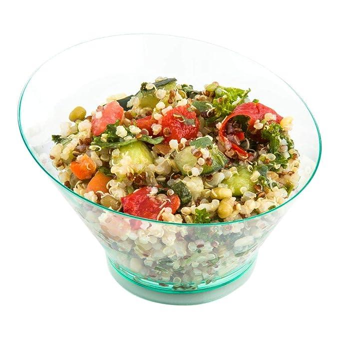 Seagreen Salate und mehr 16,5 ml Premium Einweg-Kunststoff Servieren Sie Desserts 20 ct Box Vorspeisen Schüssel mit geneigter Schüssel