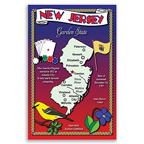 New Map Jersey State (NEW JERSEY STATE MAP postcard set of 20 identical postcards. Post cards with NJ map and state symbols. Made in USA.)