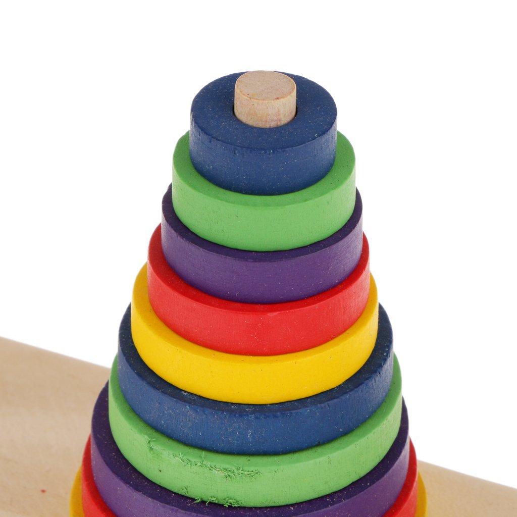10 Capas Juguetes Juegos Educativos Tradicionales Torre de Hanoi Madera Familiar