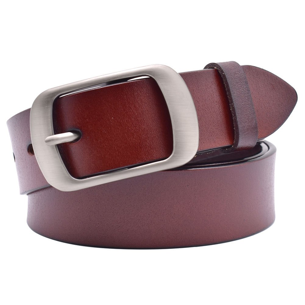 Vonsely Soft Wide Leather Belt for Jeans Shorts, Leather Belt with Metal Buckle