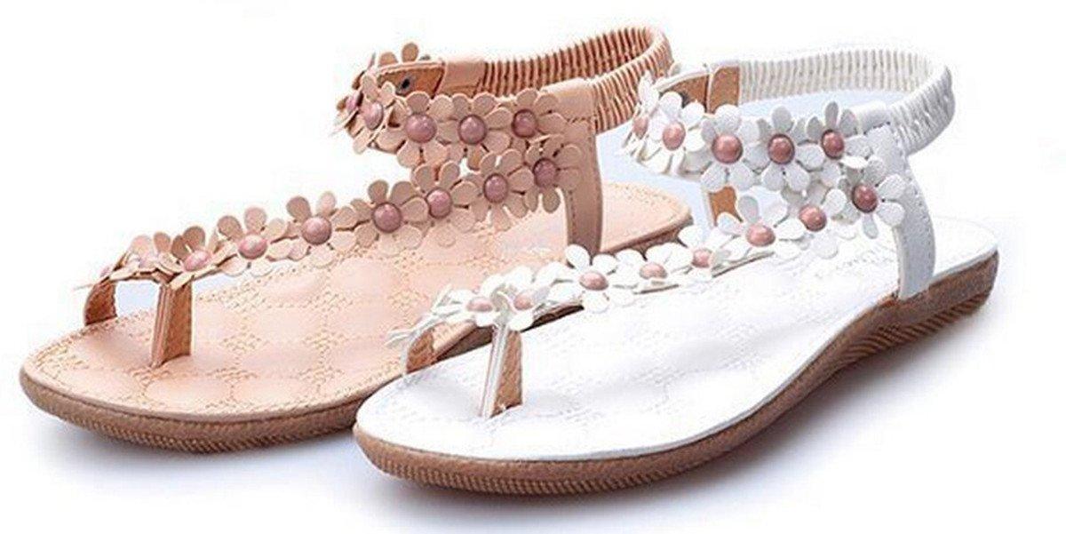 NewYork Offer Shop Women Bohemia Style Sling Sandals Flower Beads T-Strap Flip Flop Flats Slip On Thong Sweet Shoes (Beige, 10 B(M) US/41EU)