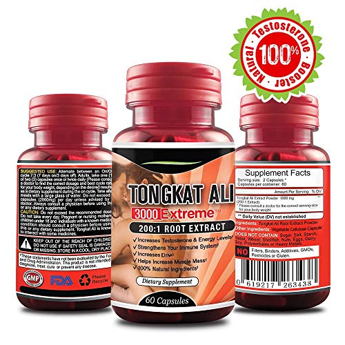 Extreme Tongkat Ali Longjack Extract - Pure Male Testosterone Booster Supplement - 100% Natural Enhancement Pills – Stamina Energy Hormone Booster Male Enlarger Increase Size 60 Veggie Capsules