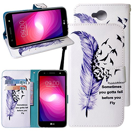 LG X Power 2 Case, LG X Charge Case, LG Fiesta LTE Case, Linkertech PU Leather Printed Flip Wallet Case Cover with Kickstand Feature Card Slots and Wrist Strap for LG K10 Power/LG LV7 (Plum Blossom)