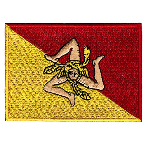 Sicily Italy Flag Embroidered Patch Sicilian Italian Iron-On National Emblem