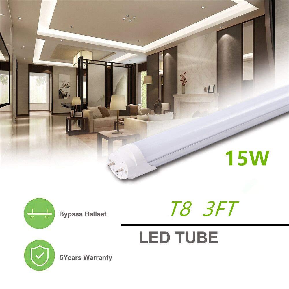Replacement for Flourescent Tubes,15 Pack T8 LED Light,5FT 24W Tube Light,G13 Base,Milky Cover,Daylight White 6500K,Ballast Bypass,5 Foot Bulb Light Fixture for Warehouse,Garage,Household etc