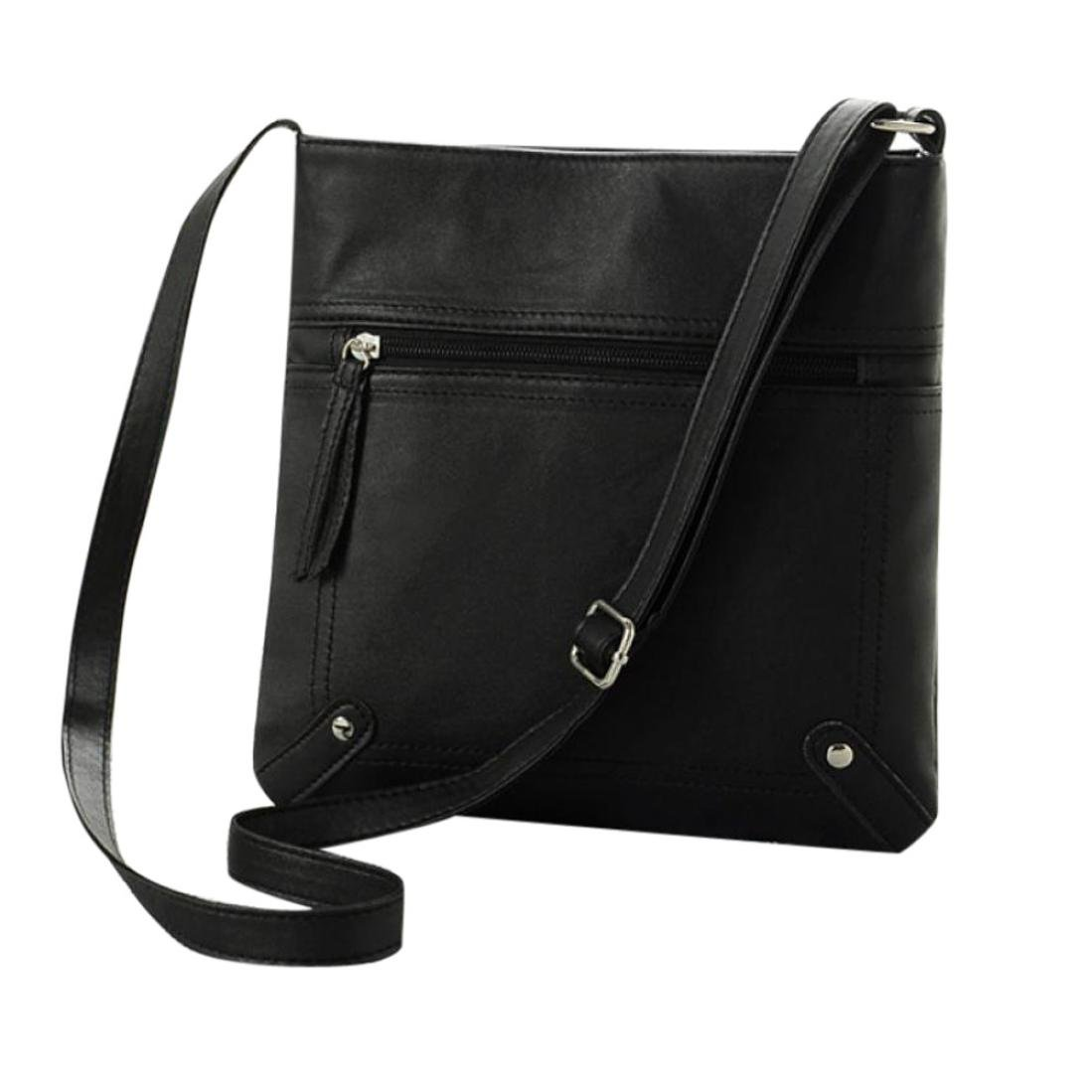 Crossbody Leather,Clearance! AgrinTol Fashion Womens Leather Satchel Shoulder Messenger Bag Handbag (Black)
