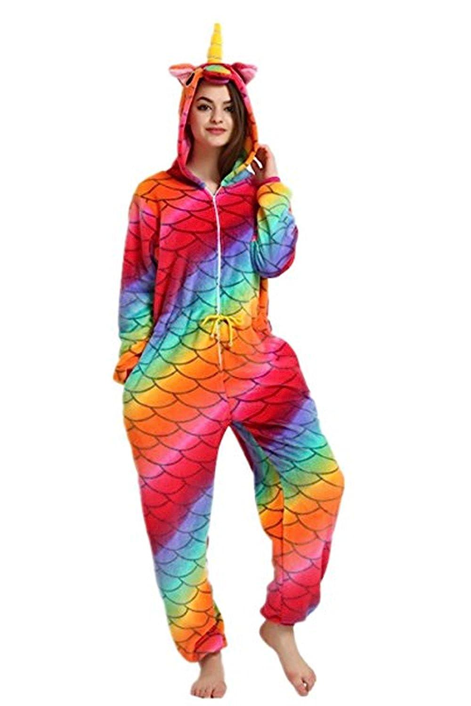 Adult Unicorn Costume Animal Onesie Pajamas Onepiece Halloween Cosplay Costume