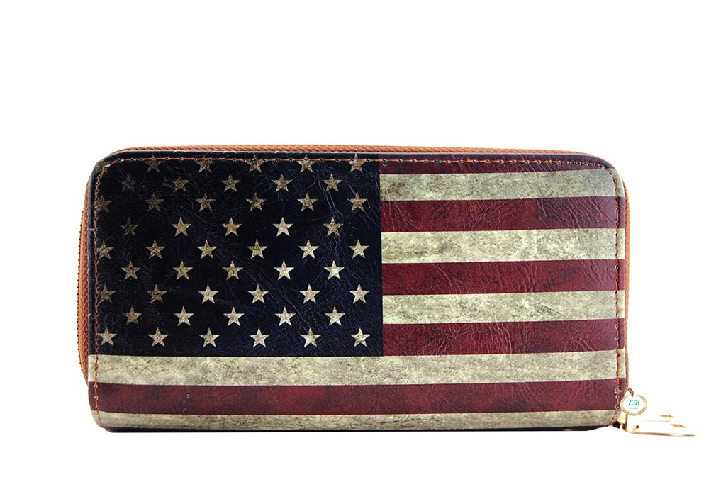 LuxeBag American Flag Wallet with Wrislet, Around Zip, Vintage Style (Tan V)