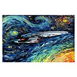 Area Rug, Kitchen Mat, Bath Mat with Chevron Weave Unique, Decorative, Stylish from DiaNoche by Aja Ann - van Gogh Star Trek Painting