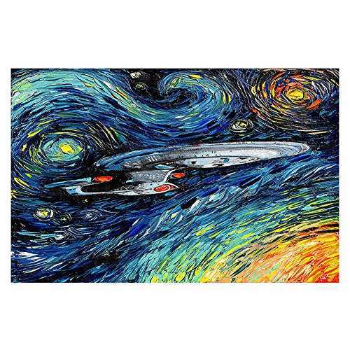 Area Rug, Kitchen Mat, Bath Mat with Chevron Weave Unique, Decorative, Stylish from DiaNoche by Aja Ann - van Gogh Star Trek Painting by DiaNoche Designs