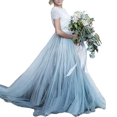O.D.W.Gray Blue Garden Rustic Wedding Dresses Short Sleeve Vintage ...